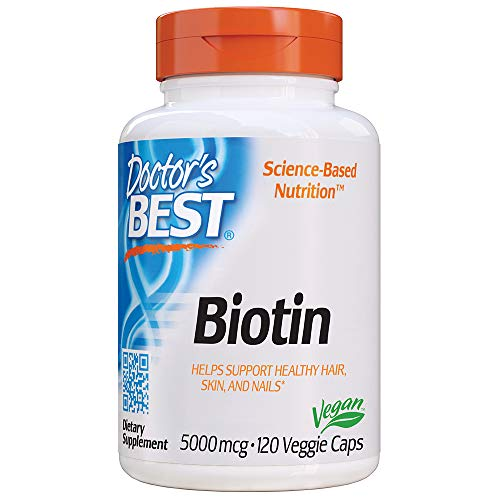Doctor's Best Biotin Supports Hair, Skin, Nails, Boost Energy, Nervous System, Non-GMO, Vegan, Gluten Free, 120 Count