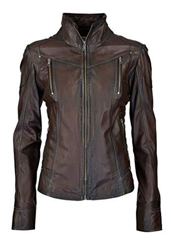 COCO BLACK LABEL since1986 Klassische Damen Lederjacke aus handschuhweichem Lamm Nappa Leder Jacke Lea, Größe:48, Farbe:Vintage Braun