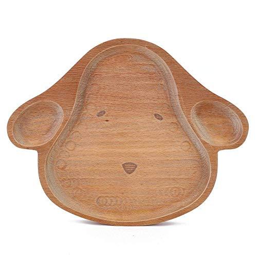 Plato de comedor para niños de madera, forma de animal de dibujos animados lindo Bandeja de plato de plato de comida dividida Vajilla para niños Bebé(Perrito)