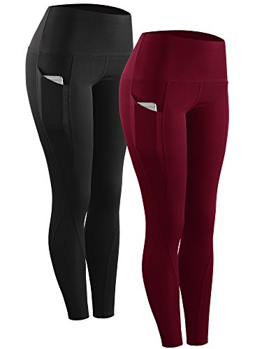Neleus 2 Pack Tummy Control High Waist Running Workout Leggings,9017,2 Pack,Black,Red,US XL,EU 2XL