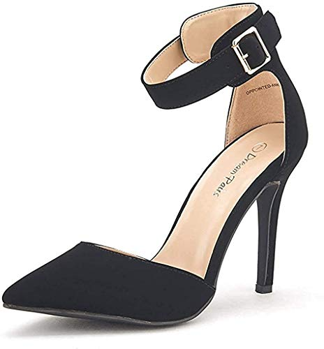 DREAM PAIRS Oppointed-Ankle Women's Pointed Toe Ankle Strap D'Orsay High Heel Stiletto Pumps Shoes Black Nubuck-sz-7.5