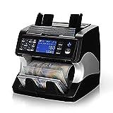 MUNBYN Contatore di banconote a denominazione mista e smistatore, 2 Rilevamento contraffazioni CIS/UV/MG/MT/IR, Numero di serie, Contatore di denaro a più valute per piccole imprese