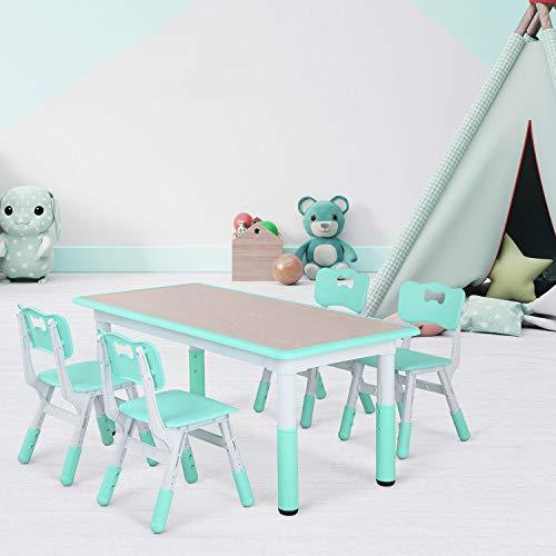 Bamny Ensemble Table et Chaises pour Enfant, Inclus 1 Table et 4 Chaises, Table à Dessin Réglable en Hauteur pour Enfants de 2 à 10 ans (Vert Menthe)