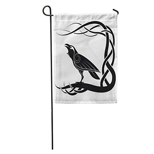 Semtomn Garden Flag Celtic Pagan Raven Crow Mythology Animals Bird Black Knot Pattern Home Yard House Decor Barnner Outdoor Stand 12x18 Inches Flag