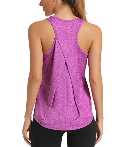 HLXFHB Workout Tank Tops for Women Gym Exercise Athletic Yoga Tops Racerback Sports Shirts (Orchid Purple, Small)