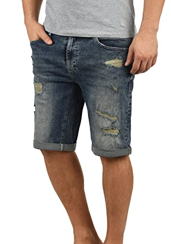 Blend Deniz Herren Jeans Shorts Kurze Denim Hose Mit Destroyed-Optik Aus Stretch-Material Regular Fit, Größe:M, Farbe:Denim middleblue (76201)