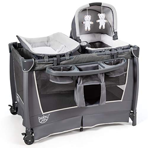 BABY JOY 4 in 1 Portable Baby Playard with Bassinet, Foldable Pack and Play w/Changing Table, Newborn Napper with Music, Large Capacity Storage Shelf, Oxford Carry Bag (Space Gray)