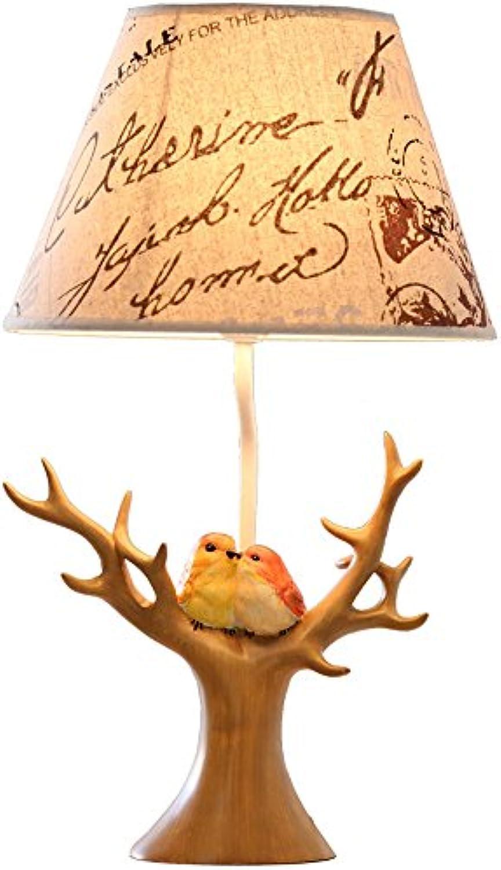 American Retro Kreative Harz Vogel Tischlampe Schlafzimmer Nachttisch Warme Romantische Tischleuchte Geschenk Theme Room Schreibtischlampe (Design   1)