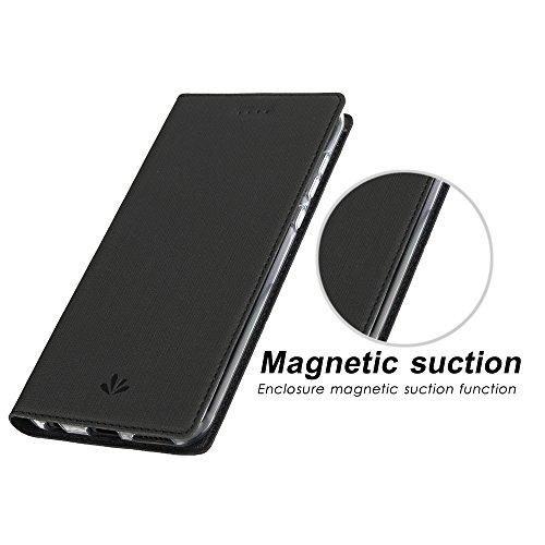 Huawei Nova 2 Plus Hülle,Eactcoo Dünn Premium PU Leder klappbares Folio Flip Case Book TPU Cover Bumper Tasche Mit Standfunktion Magnetverschluss Kartenfach Wallet Handyhülle (Nova 2 Plus, Black) - 6