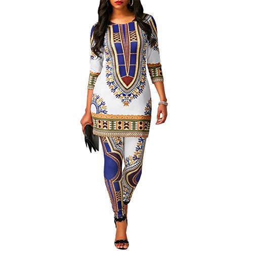 Women's Ethnic African Print Ethinc Floral Tunic Top Shirt Dress and Long Pants Set Tribal Suits 2 Pieces Outfit White L