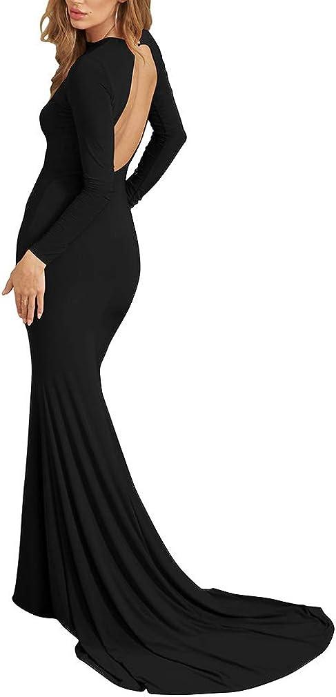 LAGSHIAN Women Elegant Long Sleeve Evening Gown Backless Maxi Mermaid Dress