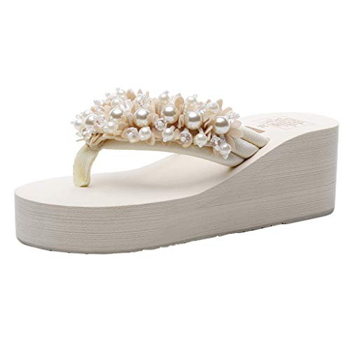 Dam tåseparator tofflor strand strand sandal sandaler strass lätt fritid bekväm sommar fritidsskor, - 3 beige - 40 EU