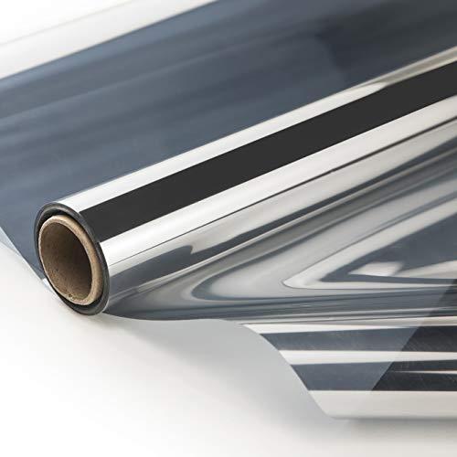 ZJELKY Fensterfolie sichtschutz Sonnenschutzfolie UV-Schutz wärmefolie für Fenster Spiegelfolie Blickdicht Selbsthaftende Hitzeschutzfolie|76x210CM Silber
