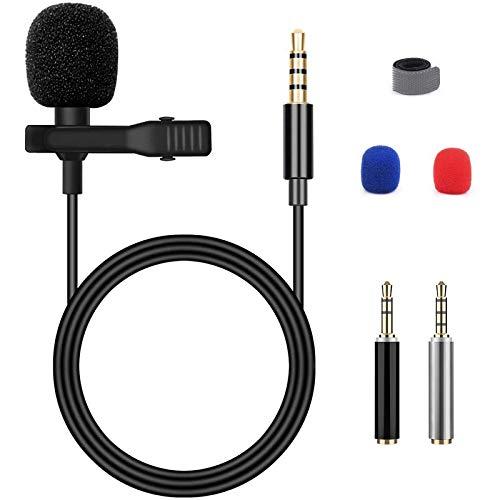 Blusmart Microfono a condensatore per smartphone, omnidirezionale, per iPhone e smartphone Android, portatili, MacBook, iPad, iPod Touch, con clip per il bavero