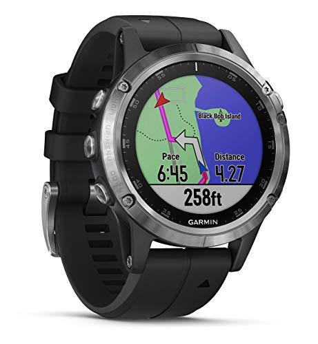 Garmin Fenix 5 Plus - Reloj GPS multideporte, Plata con correa negra (Reacondicionado)
