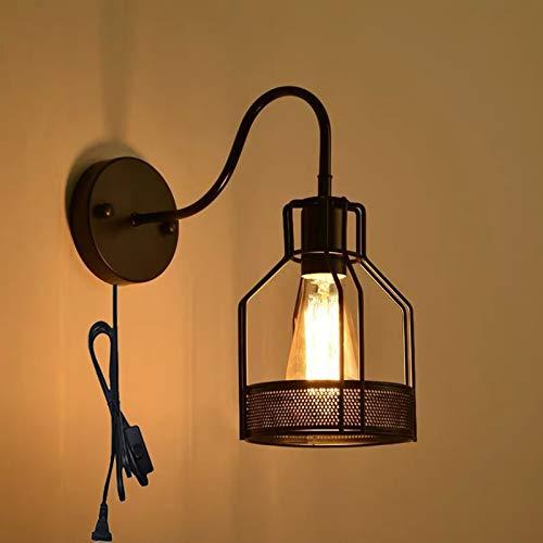 QEGY Aplique de Pared Vintage Industrial con Cable, E27 Retro Aplique de Pared Interior Negra con Interruptor, Jaula Metal Luz de Pared Dormitorio Pasillos Iluminación