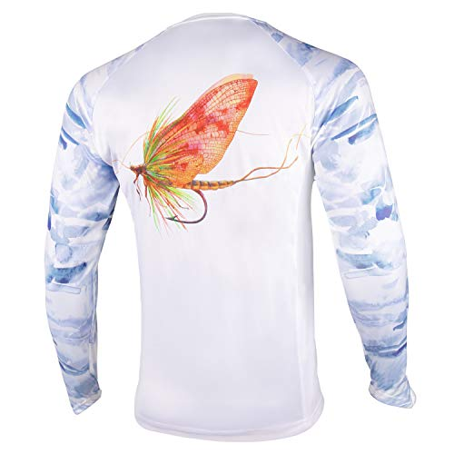 Palmyth - Camisa de pesca para hombre, manga larga, protección solar UV UPF 50+ camisetas con bolsillo, Protección solar., L, Mayfly