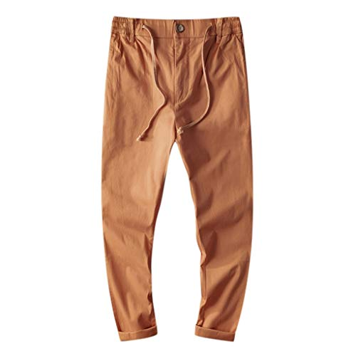 Panty's, joggingbroek, brede broek, heren, joggingbroek, vrije tijd, katoen, ademend, losse lange broek, pure kleur rechte broek Large oranje