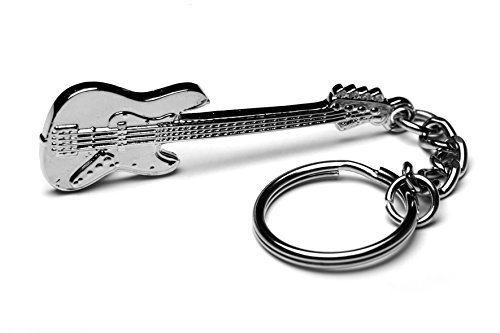 Llavero de metal para bajo de guitarra modelo Jazz Bass con bolsa de regalo