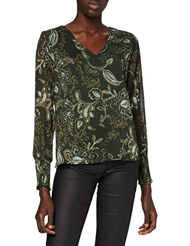 ONLY Damen Bluse, AOP:Hand Drawn Paisley/ONLNANA L/S V-Neck TOP WVN, XS