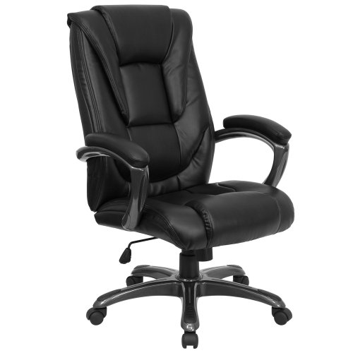 Flash Furniture High Back Black LeatherSoft Layered Upholstered Executive Swivel Ergonomic Office Chair with Smoke Metal Base and Arms, BIFMA Certified