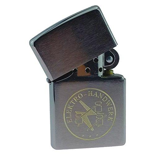 Sturmfeuerzeug für Elektriker mit Gravur Elektro-Handwerk und Zunftzeichen Benzinfeuerzeug - in Geschenke-Box mit original Feuerzeugbenzin und Ersatz Feuersteine