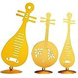 CACAZI Lot de 3 instruments de musique décoratifs Pipa Yueqin