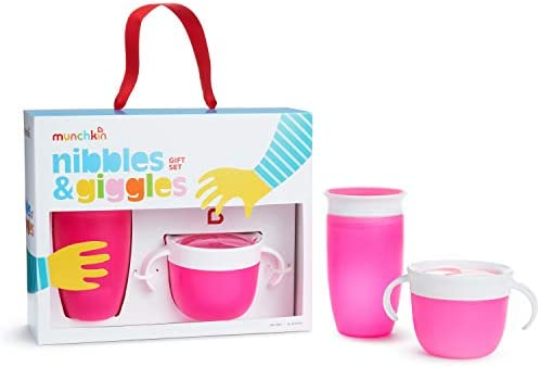 Munchkin Nibbles Giggles Toddler Gift Set Includes 10oz Miracle 360 Cup and Snack Catcher Pink product image