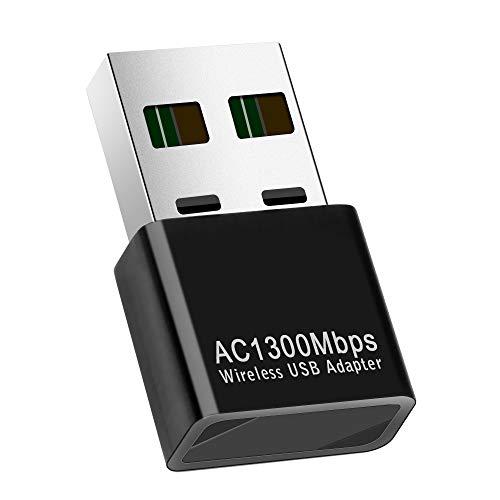 GuangDa Mini Adaptateur WiFi USB2.0 AC1300Mbps Dual Band 2.4G 5.8G Prise en Charge Windows 10/7/8/8.1 / XP/Vista/Mac OS 10.6-10.15, Adaptateur réseau sans Fil Wi-FI pour Ordinateur Portable Mac PC