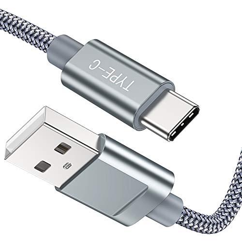 USB C Kabel 2Meter 2Stück, Snowkids Highspeed USB C Ladekabel Nylon Geflochtenes Ladekabel für Samsung S8, Kompatibel mit Samsung S8 mit S9 mit S10 mit Note 9 mit LG G6 mit Huawei P9/P10 usw.-Grau