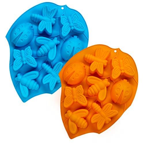2 piezas 3D Moldes de pastel de silicona, CNYMANY molde de insecto de 8 cavidades Bandeja de cocina para hornear para Mollete Bomba de grasa Chocolate Caramelo Magdalena Jabón Vela