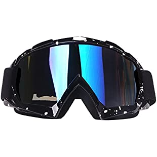 Motocross Goggles, 4-FQ Motorcycle Goggles PU Resin Windproof Dustproof CRG Sports Scratch Resistant Dirt Bike Goggles Wrap Riding Goggles Protective Safety Off Road Goggles (Color lens Marble Black frame):Iracematravel
