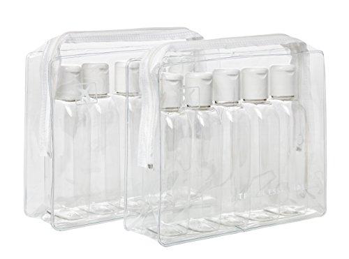 Lot de 2 packs de voyage en plastique transparent avec 10 bouteilles de 100 ml