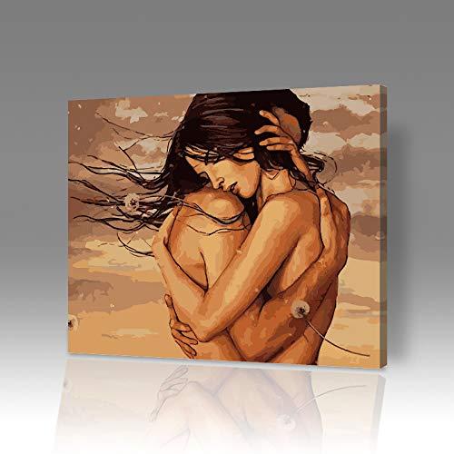 DIY Digitale Olieverfschilderij Kleurplaten Olieverfschilderij Kit Knuffel Cartoon Landschap Bloem Decoratie Schilderij 6932 Frameloze 40x50cm