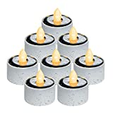 Homemory Solar Tea Lights Outdoor Waterproof, Dusk to Dawn Outdoor Lighting, Reusable LED Tea Light Candles for Lantern Garden Camping and Home Decor, Pack of 8, Warm White