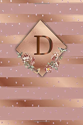 D Cute Initial Monogram Letter D College Ruled Notebook Nifty Girly Personalized Name Medium product image