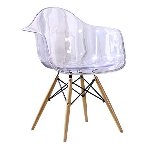 Esszimmerstühle Dining Chair, Haushalt Zurück Kunststoff Hocker, Transparenter Kristall Casual Dining Chair, Kreativer Bürostuhl, Gewerbe Haushalt (Color : Clear, Size : 63 * 81.5cm)