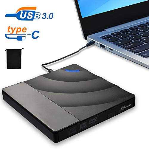 Externes CD DVD Laufwerk,USB 3.0 mit Type-C Portable DVD/CD Brenner und -Lesegerät/Plug&Play/niedriger Lärm/kompatibel für alle Laptop/Desktop/Windows7/8/10/Mac OS/Linux,Schwarz
