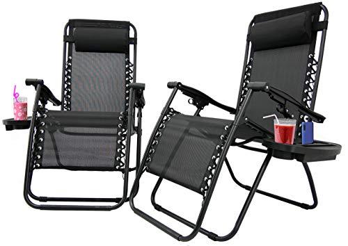 2 x Liegestuhl   Verstellbar Kopfpolster Schwerelosigkeit Oxford Stahl Fußschoner   Garten Liege Hochlehner Gartenstuhl Schwarz (Modell 2)