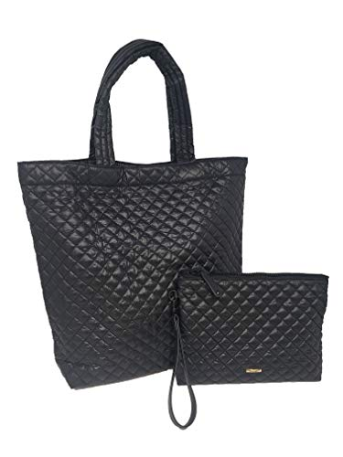 ClaraNY Comfortable light weight quilted market Tote with Wrist-let pouch combo water repellent Black
