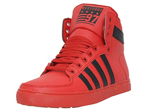 West Code Mens Casual High Top Fashion Sneakers 6030-Red-9