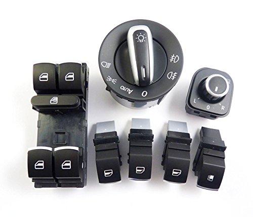 Lot de 7 interrupteurs chromés pour rétroviseurs de phare avant 5ND959857 pour Rabbit Golf GTI MK5 2005 2006 2007 2008 2009 2010