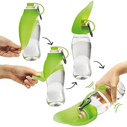 Schecker Hunde Trinkflasche Wasserflasche h2o Trinkflasche Wassernapf mit Silikon Trinkblatt Praktische Trinkflasche für unterwegs 0,6l