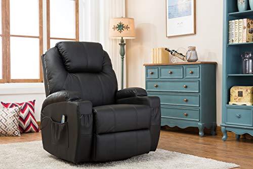 MCombo Massagesessel Fernsehsessel Relaxsessel mit Heizung Dreh 360° Schaukel Schwarz