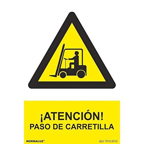 Normaluz RD30006 - Señal ¡Atención! Paso De Carretilla PVC Glasspack 0,7 mm 21x30 cm