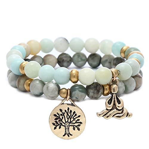 XINRUI Natural Gemstone Healing Yoga Beaded Bracelets for Women Tree of Life Chakra Bracelet Jasper & Tibetan Agate-Cyan