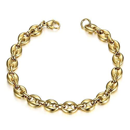 BOBIJOO Jewelry - Bracelet Grain de Café Homme Femme Acier Inoxydable 316L Or Doré Plaqué PVD 21cm 4 Largeurs - Doré 7mm