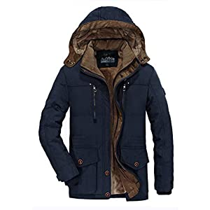 Men's Winter Coat Fleece Lined Leisure Jacket Thicken Stand Collar wi...