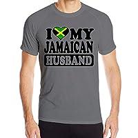 メンズカジュアルジャマイカ夫ジャマイカ国旗半袖ポリエステルTシャツ、L