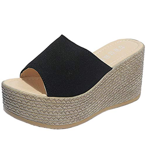 COOLCEPT Mujer Moda Mulas Tacón De Cuña Slides Sandalias Plataforma Verano Zapatos Tacon Alto Sandalias Sin Cordones Black Talla 34 Asian
